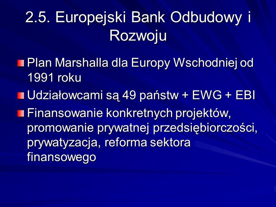 2.5. Europejski Bank Odbudowy i Rozwoju Plan Marshalla dla Europy Wschodniej od 1991 roku Udziałowcami są 49 państw + EWG + EBI Finansowanie konkretny