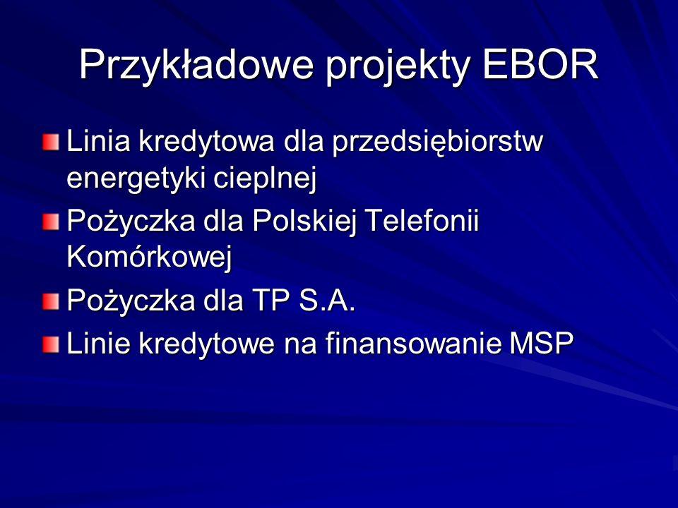 Przykładowe projekty EBOR Linia kredytowa dla przedsiębiorstw energetyki cieplnej Pożyczka dla Polskiej Telefonii Komórkowej Pożyczka dla TP S.A. Lini