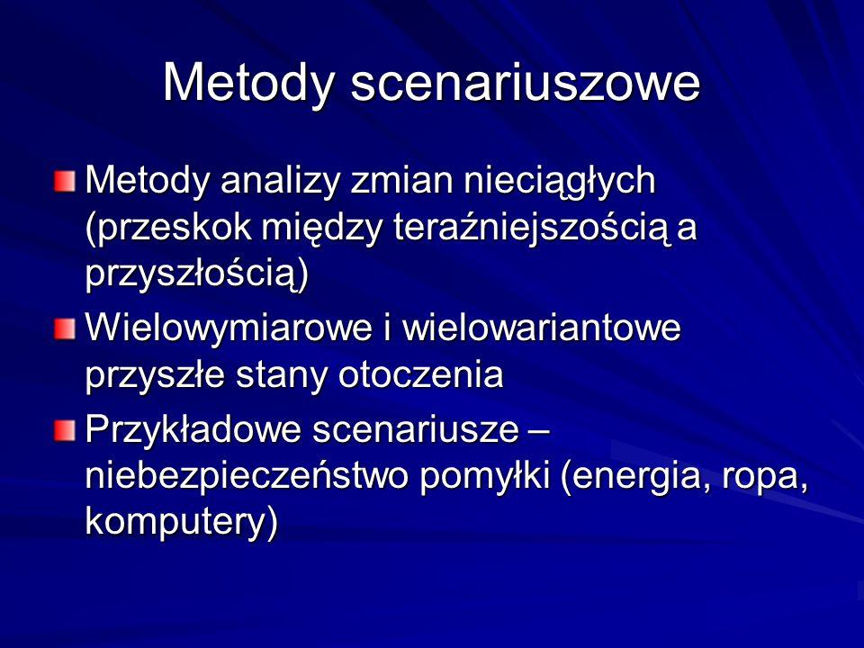 Metody scenariuszowe Metody analizy zmian nieciągłych (przeskok między teraźniejszością a przyszłością) Wielowymiarowe i wielowariantowe przyszłe stan
