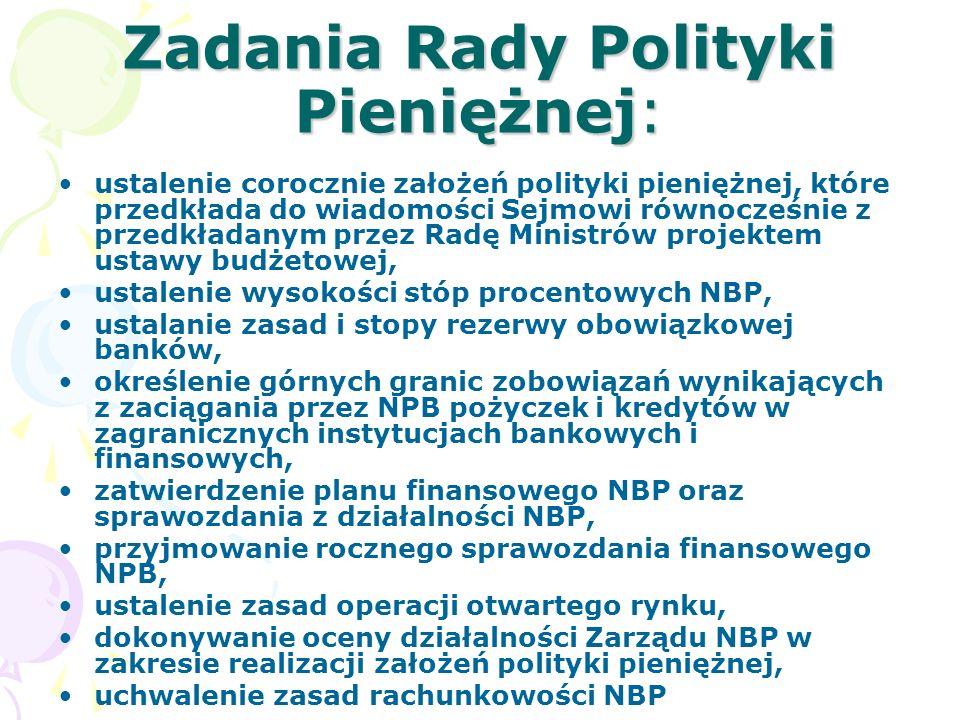 Zadania Rady Polityki Pieniężnej: ustalenie corocznie założeń polityki pieniężnej, które przedkłada do wiadomości Sejmowi równocześnie z przedkładanym