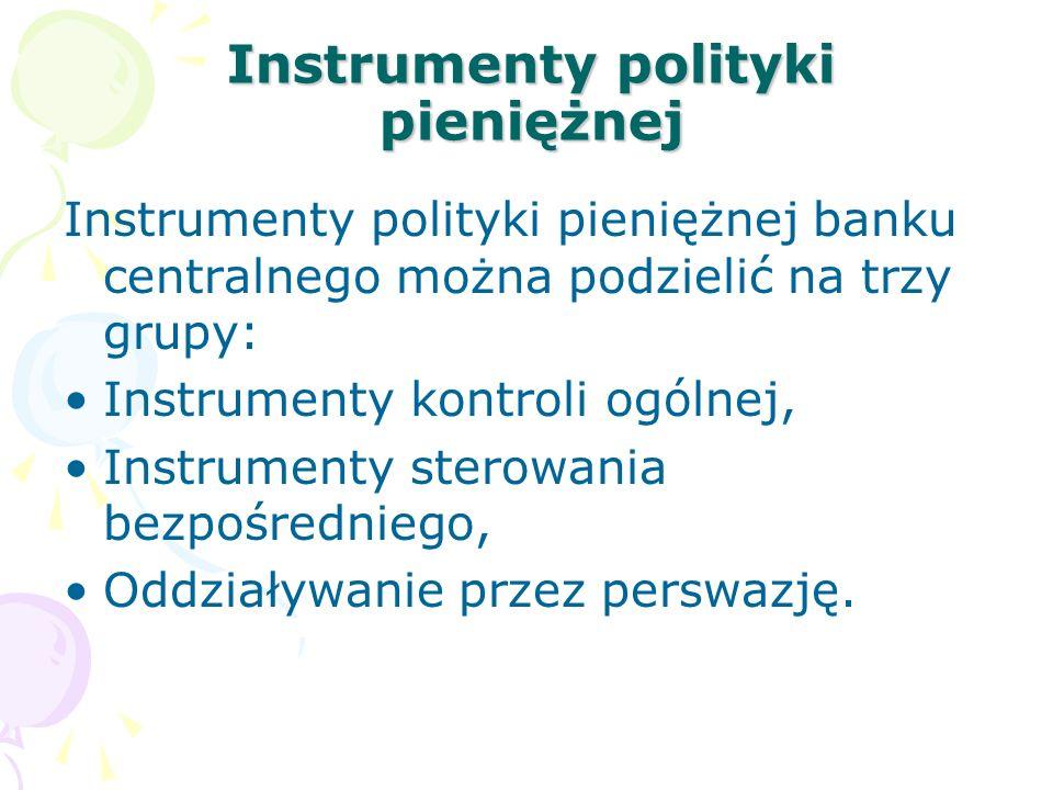 Instrumenty polityki pieniężnej Instrumenty polityki pieniężnej banku centralnego można podzielić na trzy grupy: Instrumenty kontroli ogólnej, Instrum