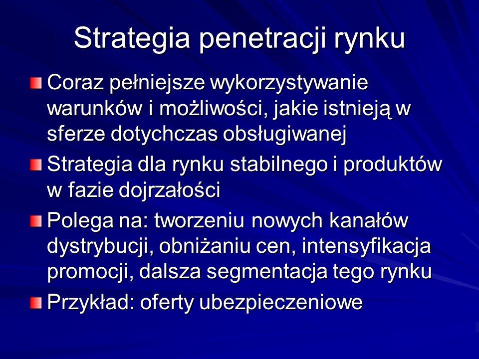 Strategia penetracji rynku Coraz pełniejsze wykorzystywanie warunków i możliwości, jakie istnieją w sferze dotychczas obsługiwanej Strategia dla rynku stabilnego i produktów w fazie dojrzałości Polega na: tworzeniu nowych kanałów dystrybucji, obniżaniu cen, intensyfikacja promocji, dalsza segmentacja tego rynku Przykład: oferty ubezpieczeniowe