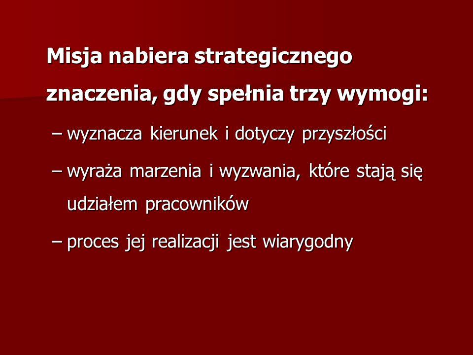 Misja – jako synteza sposobu zachowania przedsiębiorstwa –klienci (Kim są?) –produkt (Jakie są główne wyroby i usługi?) –lokalizacja (Gdzie firma działa?) –technologia (Jaka jest podstawowa technologia firmy?) –kontynuacja działalności, przetrwanie firmy (Jakie są ekonomiczne cele firmy?) –filozofia (Jakie są przekonania, wartości, aspiracje i priorytety?) –własna koncepcja firmy (Co jest silną stroną/ przewagą konkurencyjną?) –publiczny wizerunek firmy (Co jest społeczną powinnością, jaki jest jej wizerunek?) –personel (Jaki jest stosunek firmy do pracowników?)