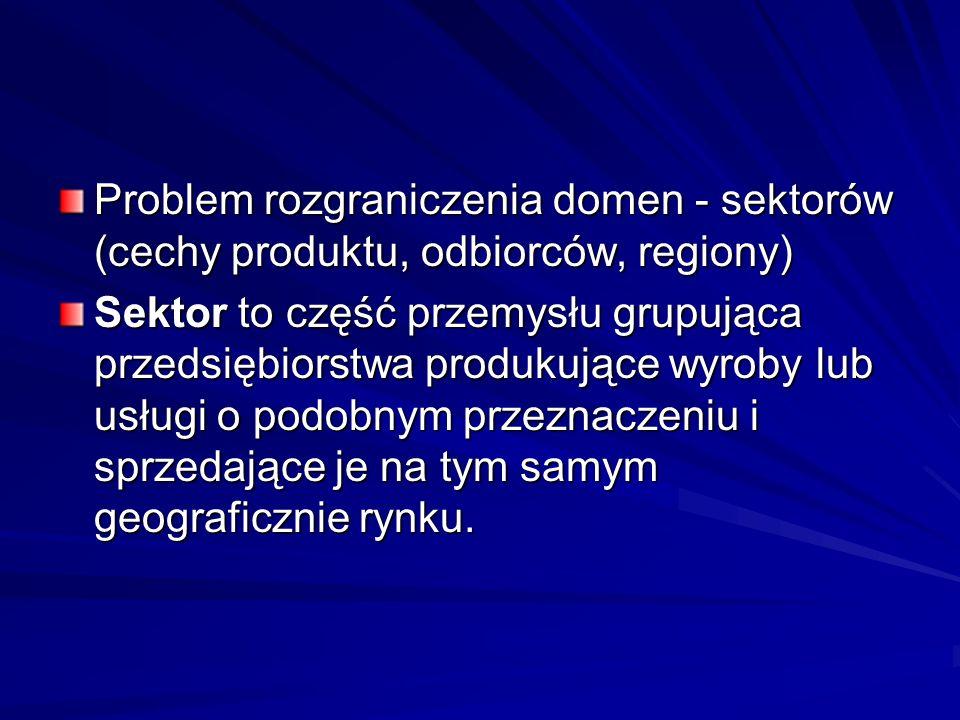 Problem rozgraniczenia domen - sektorów (cechy produktu, odbiorców, regiony) Sektor to część przemysłu grupująca przedsiębiorstwa produkujące wyroby l