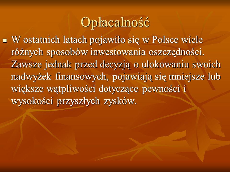 Opłacalność W ostatnich latach pojawiło się w Polsce wiele różnych sposobów inwestowania oszczędności. Zawsze jednak przed decyzją o ulokowaniu swoich