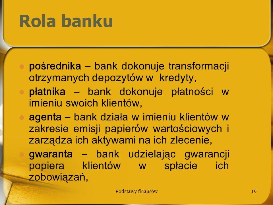 Podstawy finansów19 Rola banku pośrednika – bank dokonuje transformacji otrzymanych depozytów w kredyty, płatnika – bank dokonuje płatności w imieniu
