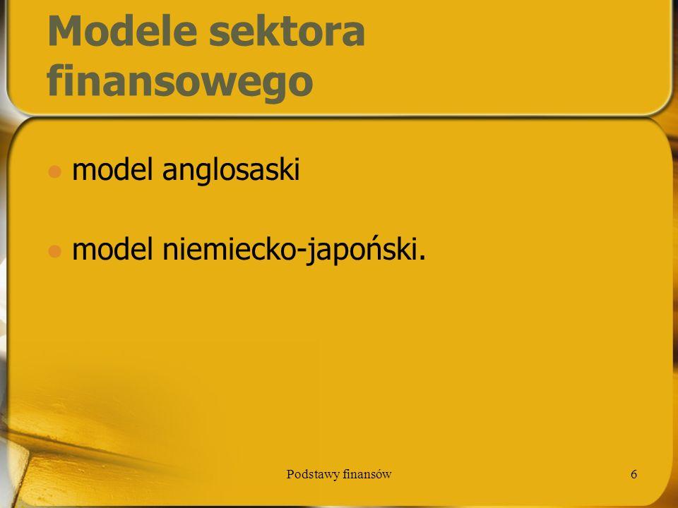 Podstawy finansów6 Modele sektora finansowego model anglosaski model niemiecko-japoński.