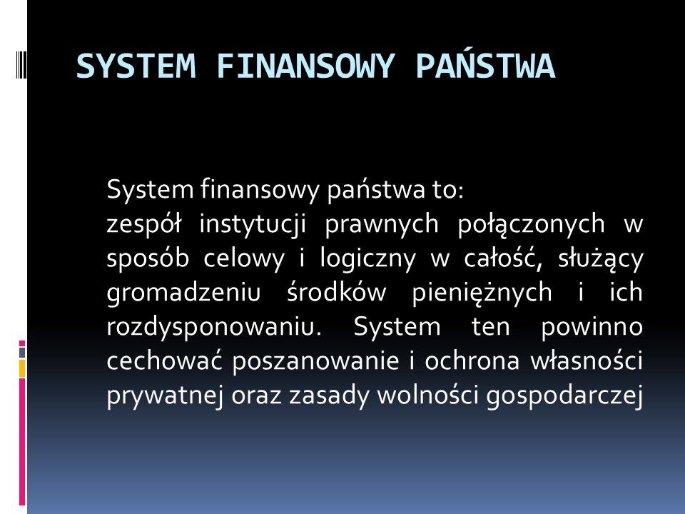SYSTEM FINANSOWY PAŃSTWA System finansowy państwa to: zespół instytucji prawnych połączonych w sposób celowy i logiczny w całość, służący gromadzeniu środków pieniężnych i ich rozdysponowaniu.