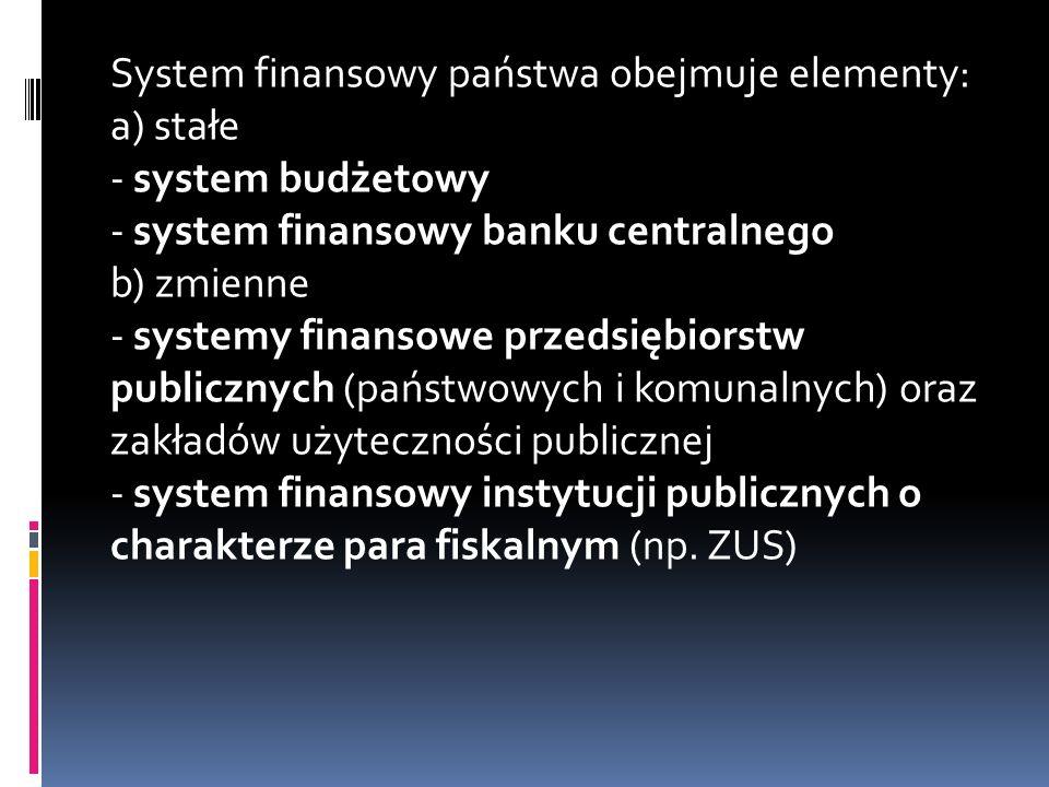 System finansowy państwa obejmuje elementy: a) stałe - system budżetowy - system finansowy banku centralnego b) zmienne - systemy finansowe przedsiębiorstw publicznych (państwowych i komunalnych) oraz zakładów użyteczności publicznej - system finansowy instytucji publicznych o charakterze para fiskalnym (np.