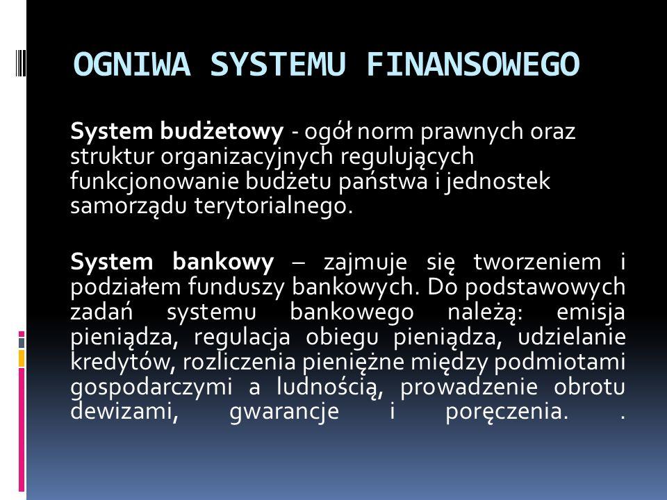 OGNIWA SYSTEMU FINANSOWEGO System budżetowy - ogół norm prawnych oraz struktur organizacyjnych regulujących funkcjonowanie budżetu państwa i jednostek samorządu terytorialnego.