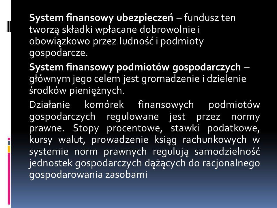 System finansowy ubezpieczeń – fundusz ten tworzą składki wpłacane dobrowolnie i obowiązkowo przez ludność i podmioty gospodarcze.