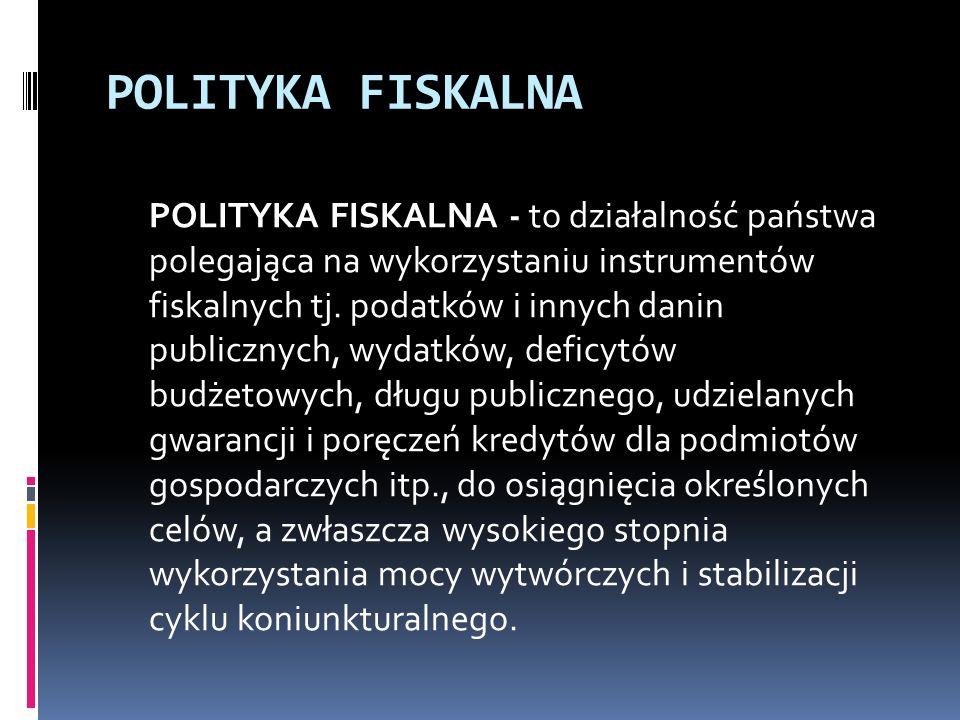 POLITYKA FISKALNA POLITYKA FISKALNA - to działalność państwa polegająca na wykorzystaniu instrumentów fiskalnych tj.