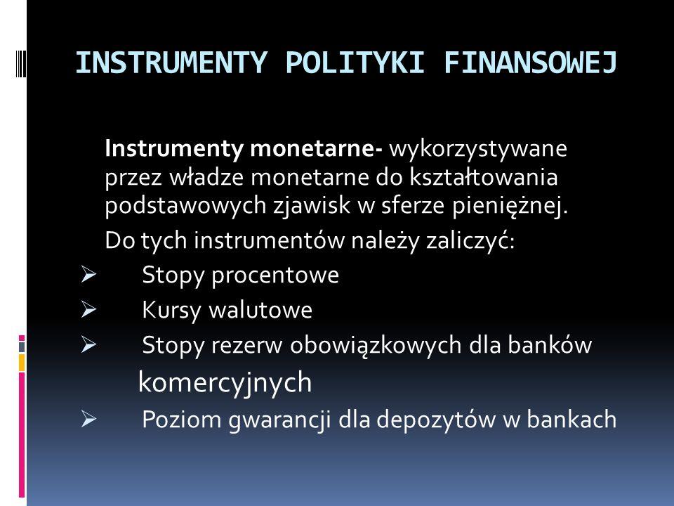 INSTRUMENTY POLITYKI FINANSOWEJ Instrumenty monetarne- wykorzystywane przez władze monetarne do kształtowania podstawowych zjawisk w sferze pieniężnej.