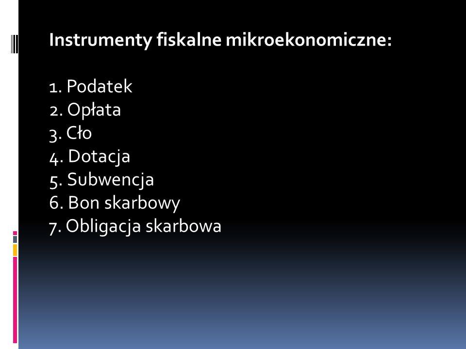 Instrumenty fiskalne mikroekonomiczne: 1.Podatek 2.