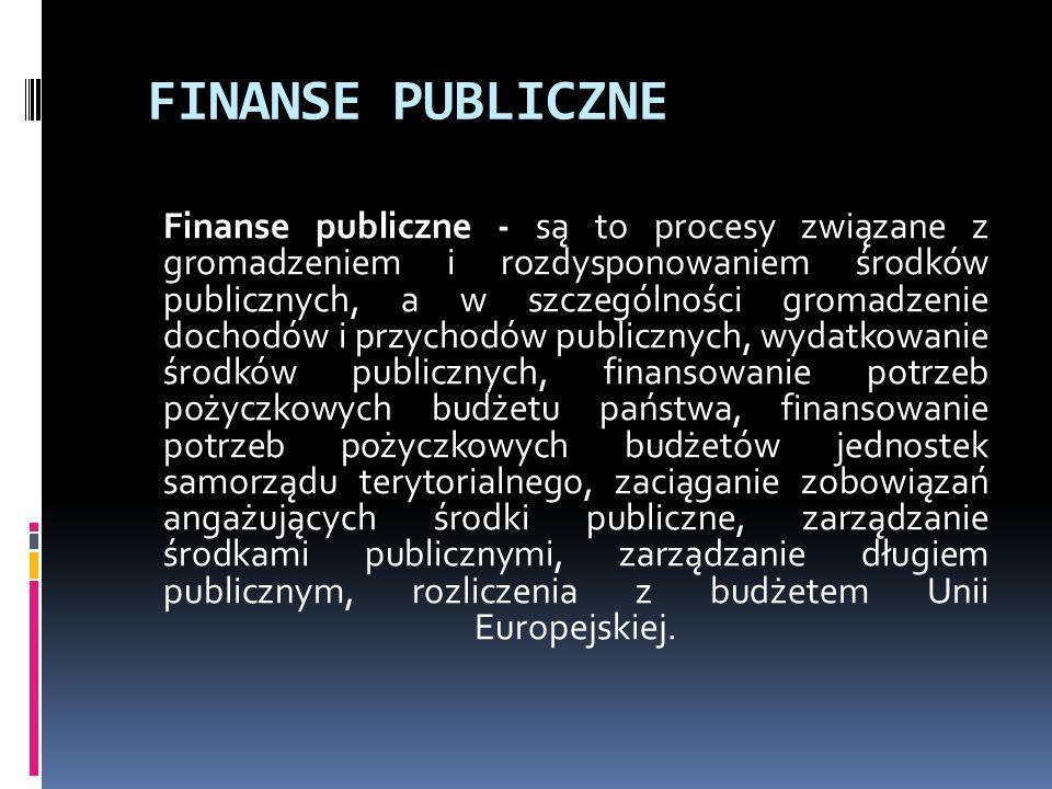 FINANSE PUBLICZNE Finanse publiczne - są to procesy związane z gromadzeniem i rozdysponowaniem środków publicznych, a w szczególności gromadzenie dochodów i przychodów publicznych, wydatkowanie środków publicznych, finansowanie potrzeb pożyczkowych budżetu państwa, finansowanie potrzeb pożyczkowych budżetów jednostek samorządu terytorialnego, zaciąganie zobowiązań angażujących środki publiczne, zarządzanie środkami publicznymi, zarządzanie długiem publicznym, rozliczenia z budżetem Unii Europejskiej.