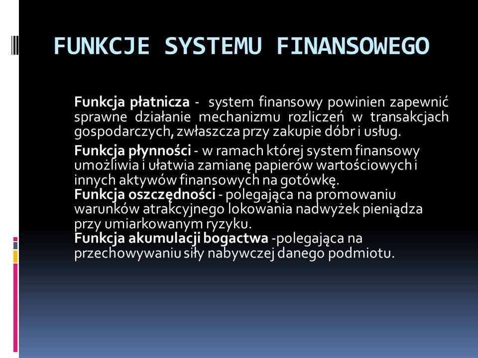 FUNKCJE SYSTEMU FINANSOWEGO Funkcja płatnicza - system finansowy powinien zapewnić sprawne działanie mechanizmu rozliczeń w transakcjach gospodarczych, zwłaszcza przy zakupie dóbr i usług.
