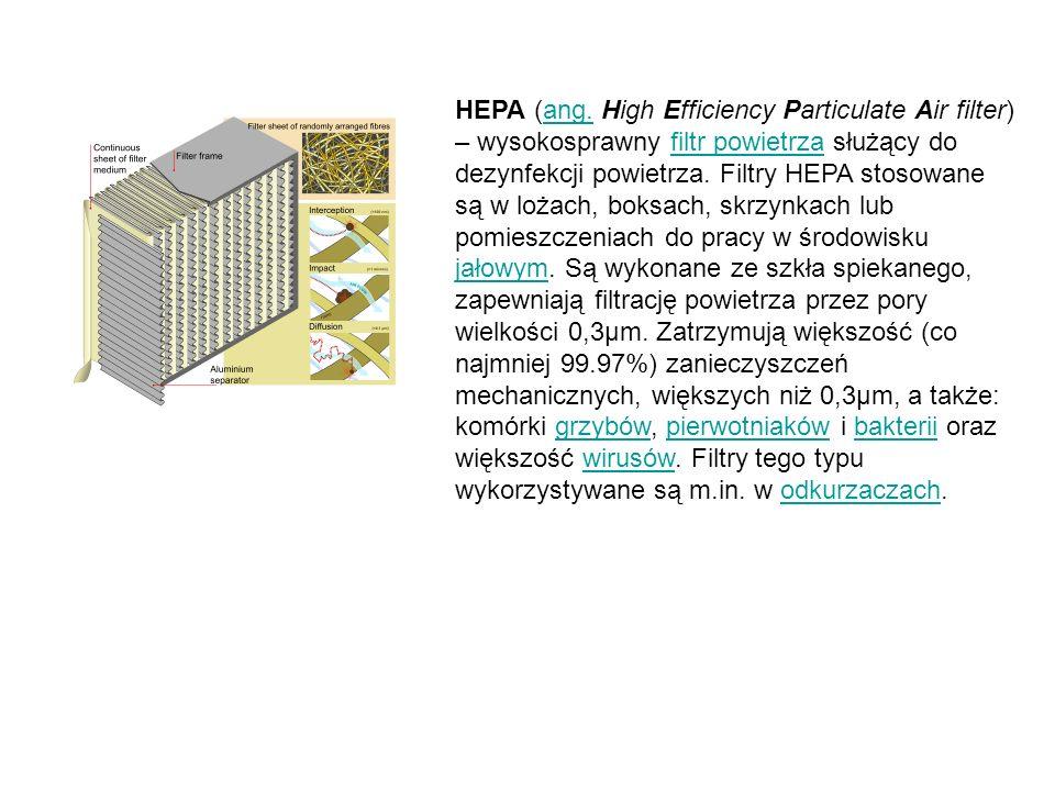 HEPA (ang. High Efficiency Particulate Air filter) – wysokosprawny filtr powietrza służący do dezynfekcji powietrza. Filtry HEPA stosowane są w lożach