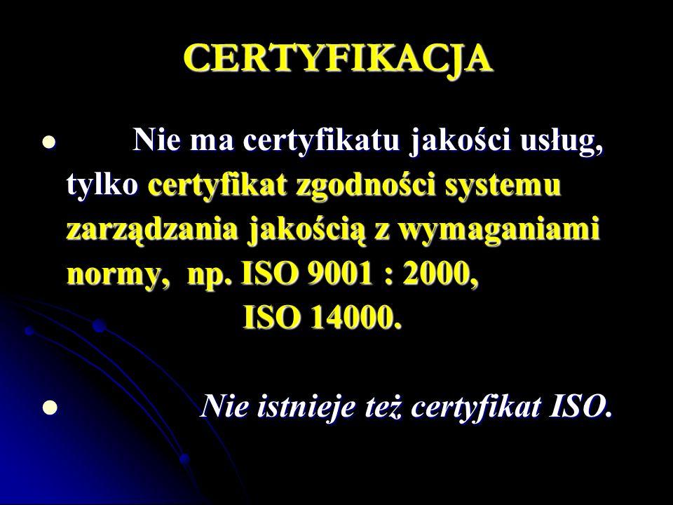 CERTYFIKACJA Nie ma certyfikatu jakości usług, Nie ma certyfikatu jakości usług, tylko certyfikat zgodności systemu zarządzania jakością z wymaganiami