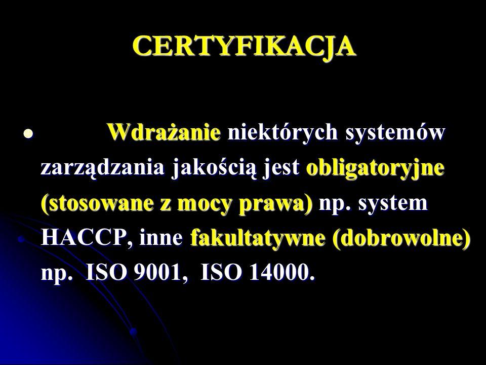 CERTYFIKACJA Wdrażanie niektórych systemów Wdrażanie niektórych systemów zarządzania jakością jest obligatoryjne (stosowane z mocy prawa) np.