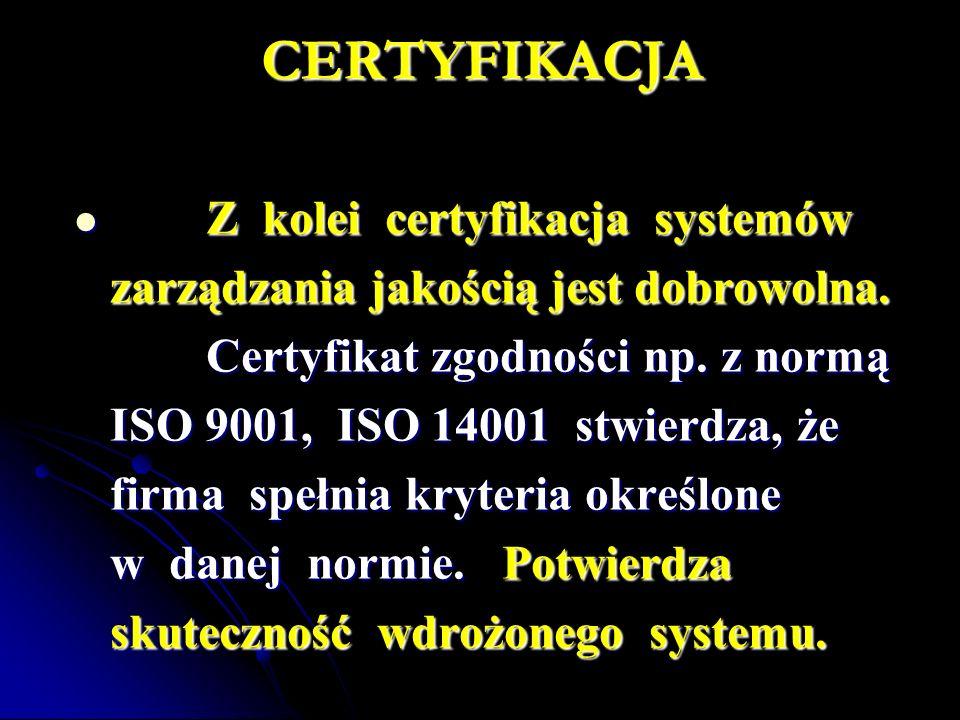 CERTYFIKACJA Z kolei certyfikacja systemów Z kolei certyfikacja systemów zarządzania jakością jest dobrowolna.