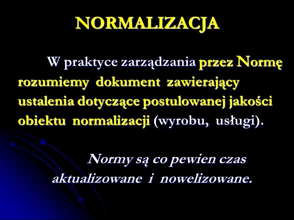 NORMALIZACJA W praktyce zarządzania przez N ormę rozumiemy dokument zawierający ustalenia dotyczące postulowanej jakości obiektu normalizacji (wyrobu, usługi).