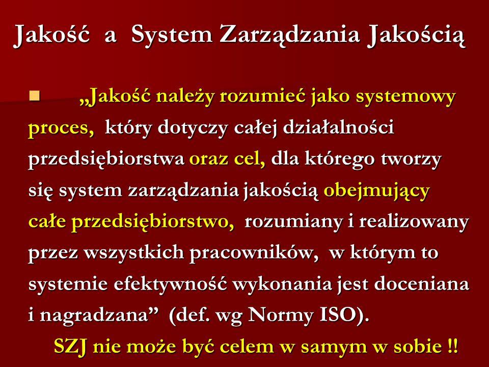 Jakość a System Zarządzania Jakością Jakość należy rozumieć jako systemowy Jakość należy rozumieć jako systemowy proces, który dotyczy całej działalności przedsiębiorstwa oraz cel, dla którego tworzy się system zarządzania jakością obejmujący całe przedsiębiorstwo, rozumiany i realizowany przez wszystkich pracowników, w którym to systemie efektywność wykonania jest doceniana i nagradzana (def.