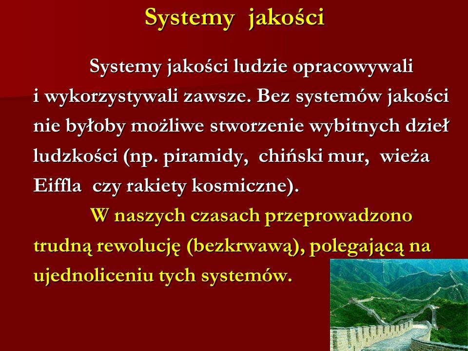 Systemy jakości Systemy jakości ludzie opracowywali Systemy jakości ludzie opracowywali i wykorzystywali zawsze. Bez systemów jakości i wykorzystywali