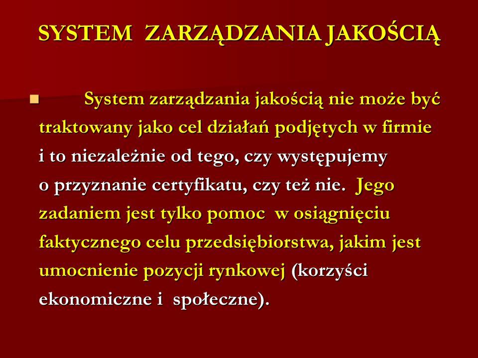 SYSTEM ZARZĄDZANIA JAKOŚCIĄ System zarządzania jakością nie może być System zarządzania jakością nie może być traktowany jako cel działań podjętych w firmie traktowany jako cel działań podjętych w firmie i to niezależnie od tego, czy występujemy i to niezależnie od tego, czy występujemy o przyznanie certyfikatu, czy też nie.