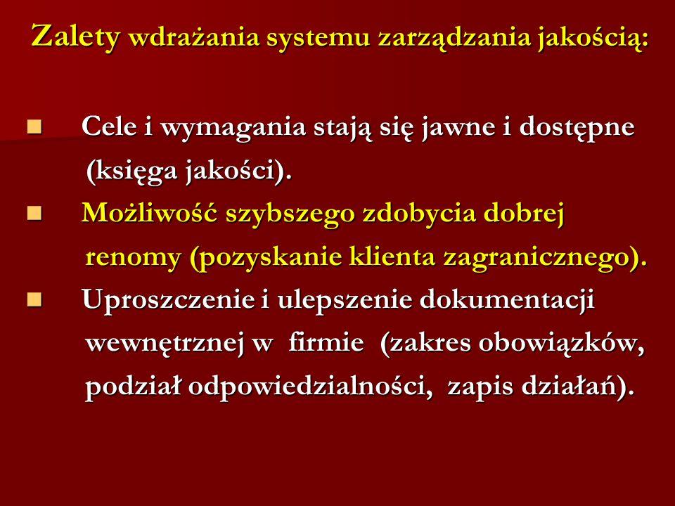 Zalety wdrażania systemu zarządzania jakością: Cele i wymagania stają się jawne i dostępne Cele i wymagania stają się jawne i dostępne (księga jakości).