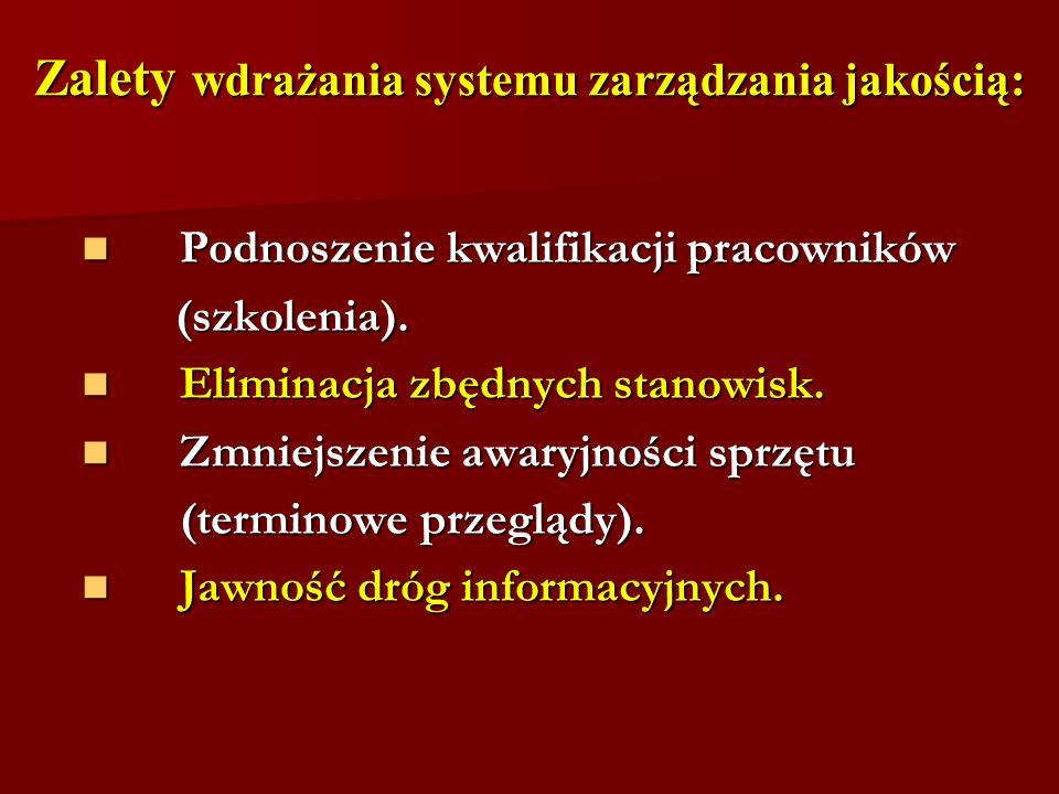 Zalety wdrażania systemu zarządzania jakością: Podnoszenie kwalifikacji pracowników Podnoszenie kwalifikacji pracowników (szkolenia).