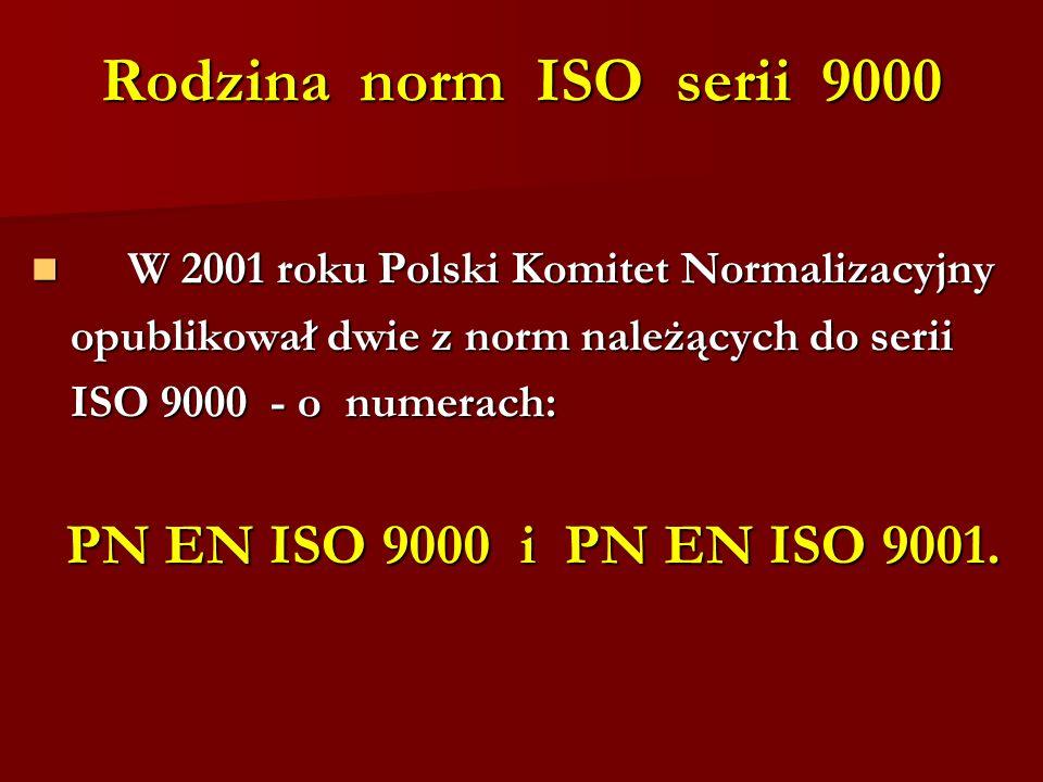Rodzina norm ISO serii 9000 W 2001 roku Polski Komitet Normalizacyjny W 2001 roku Polski Komitet Normalizacyjny opublikował dwie z norm należących do serii ISO 9000 - o numerach: PN EN ISO 9000 i PN EN ISO 9001.