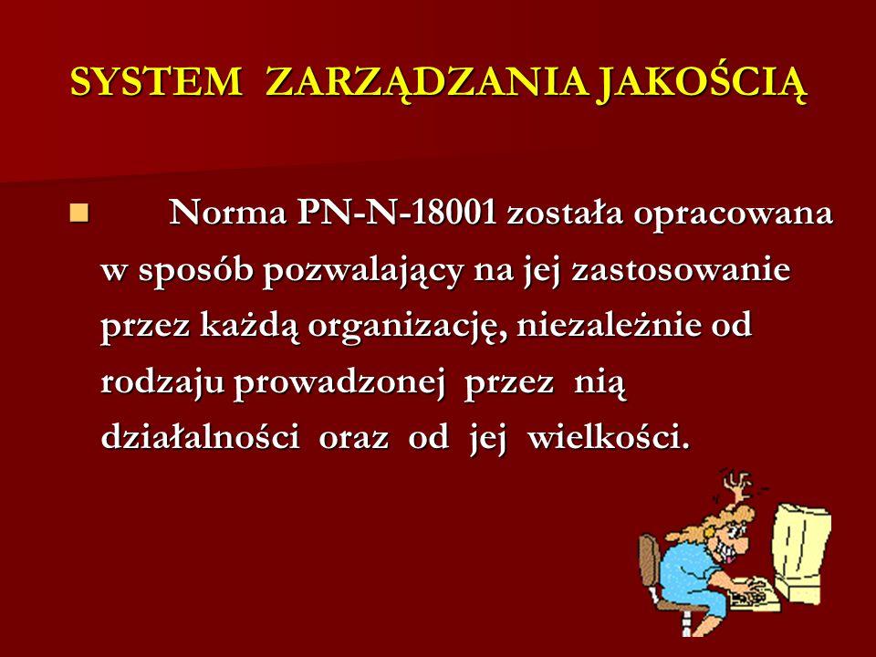 SYSTEM ZARZĄDZANIA JAKOŚCIĄ Norma PN-N-18001 została opracowana Norma PN-N-18001 została opracowana w sposób pozwalający na jej zastosowanie przez każdą organizację, niezależnie od rodzaju prowadzonej przez nią działalności oraz od jej wielkości.
