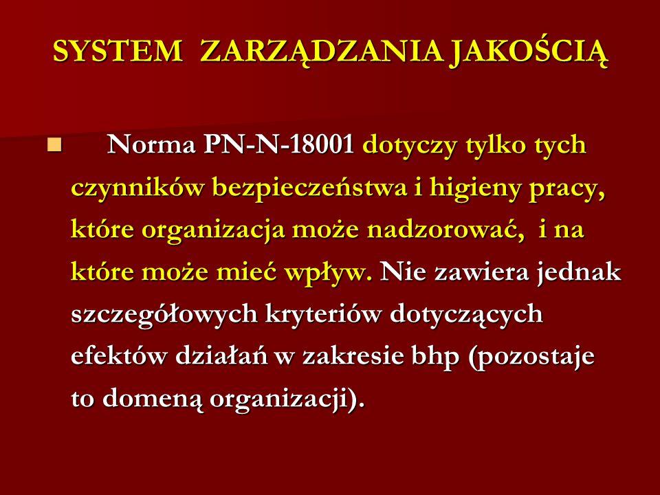 SYSTEM ZARZĄDZANIA JAKOŚCIĄ Norma PN-N-18001 dotyczy tylko tych Norma PN-N-18001 dotyczy tylko tych czynników bezpieczeństwa i higieny pracy, które or