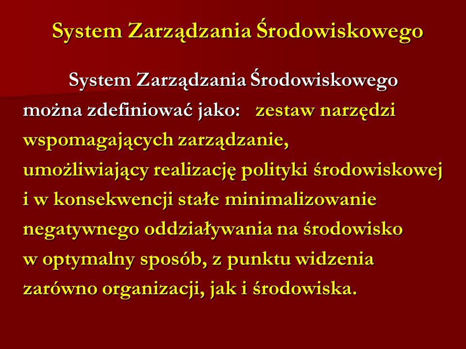 System Zarządzania Środowiskowego System Zarządzania Środowiskowego System Zarządzania Środowiskowego można zdefiniować jako: zestaw narzędzi można zd