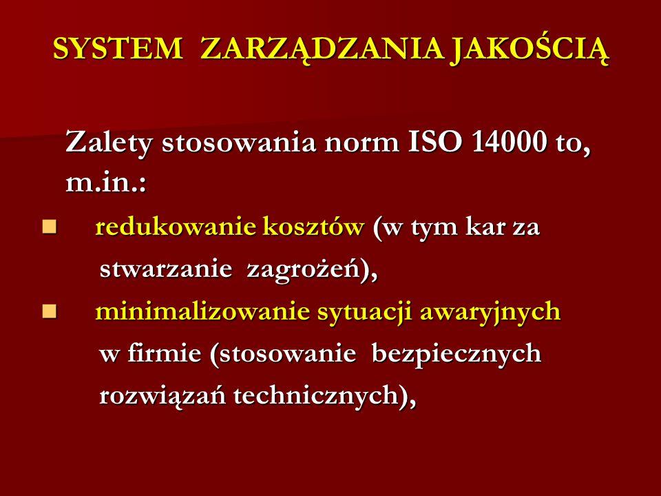 SYSTEM ZARZĄDZANIA JAKOŚCIĄ Zalety stosowania norm ISO 14000 to, m.in.: redukowanie kosztów (w tym kar za redukowanie kosztów (w tym kar za stwarzanie