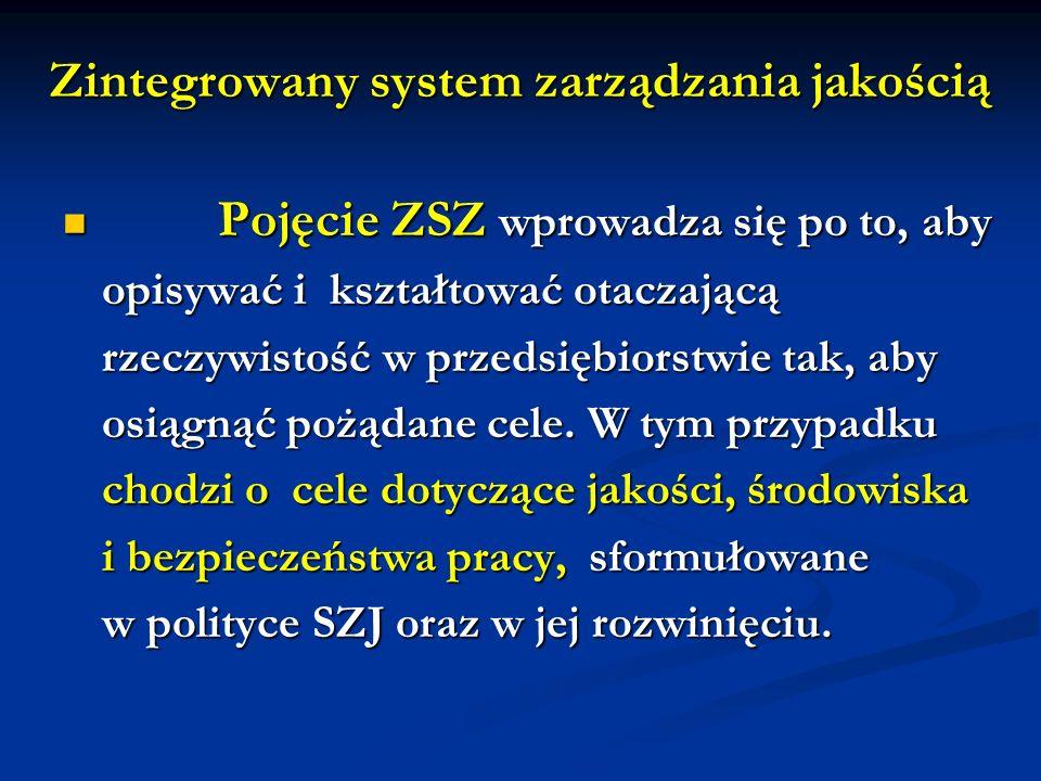 Zintegrowany system zarządzania jakością Pojęcie ZSZ wprowadza się po to, aby Pojęcie ZSZ wprowadza się po to, aby opisywać i kształtować otaczającą r