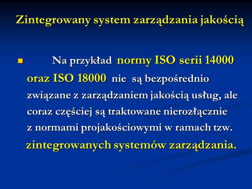 Zintegrowany system zarządzania jakością Na przykład normy ISO serii 14000 Na przykład normy ISO serii 14000 oraz ISO 18000 nie są bezpośrednio związa
