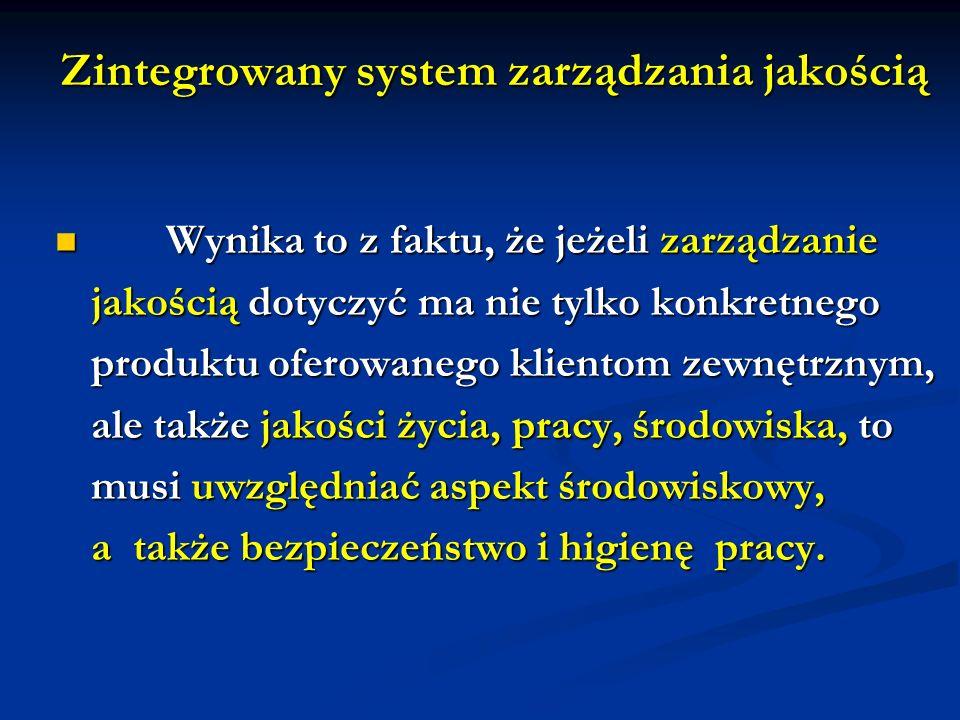 Zintegrowany system zarządzania jakością Wynika to z faktu, że jeżeli zarządzanie Wynika to z faktu, że jeżeli zarządzanie jakością dotyczyć ma nie ty
