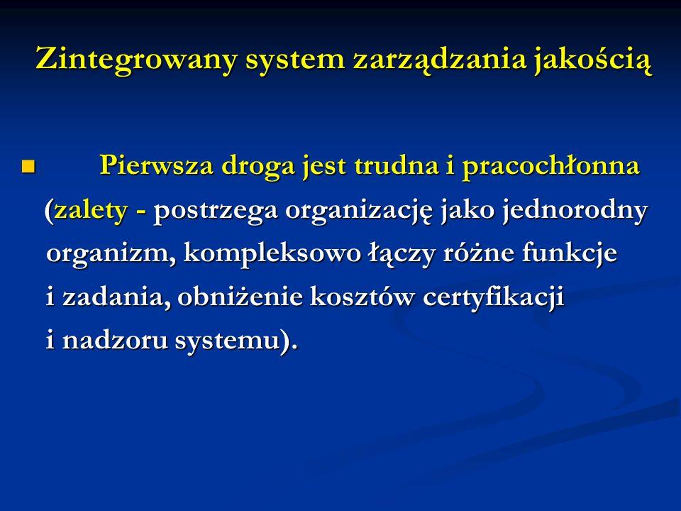 Zintegrowany system zarządzania jakością Pierwsza droga jest trudna i pracochłonna Pierwsza droga jest trudna i pracochłonna (zalety - postrzega organizację jako jednorodny (zalety - postrzega organizację jako jednorodny organizm, kompleksowo łączy różne funkcje i zadania, obniżenie kosztów certyfikacji i nadzoru systemu).