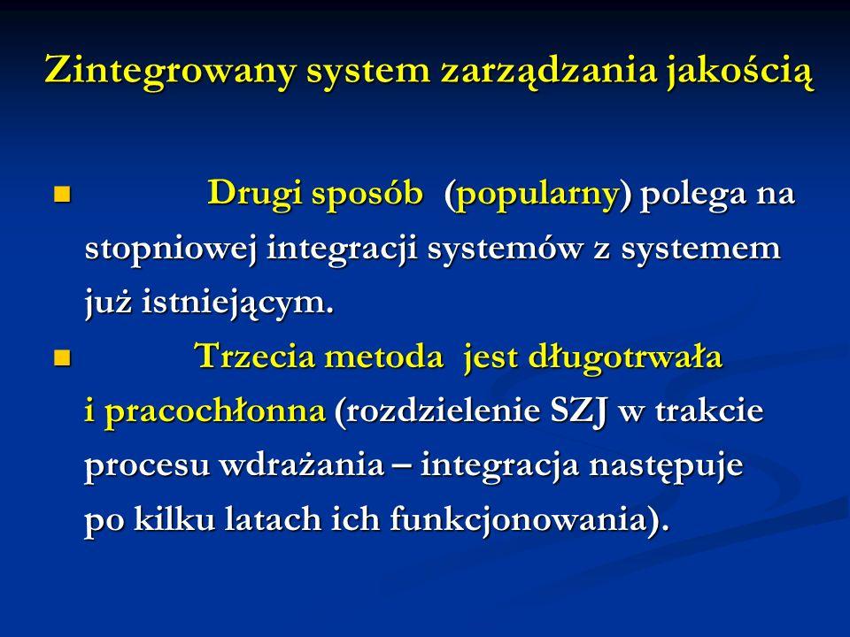 Zintegrowany system zarządzania jakością Drugi sposób (popularny) polega na Drugi sposób (popularny) polega na stopniowej integracji systemów z systemem już istniejącym.