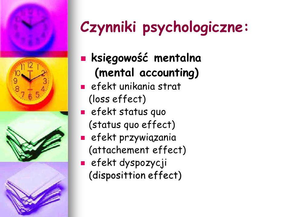 Czynniki psychologiczne: księgowość mentalna (mental accounting) efekt unikania strat (loss effect) efekt status quo (status quo effect) efekt przywią