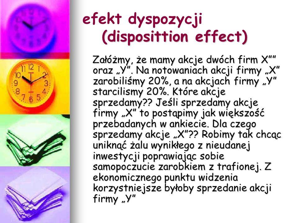 (disposittion effect) efekt dyspozycji (disposittion effect) Załóżmy, że mamy akcje dwóch firm X oraz Y.