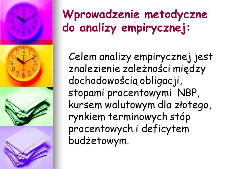 Wprowadzenie metodyczne do analizy empirycznej: Celem analizy empirycznej jest znalezienie zależności między dochodowością obligacji, stopami procentowymi NBP, kursem walutowym dla złotego, rynkiem terminowych stóp procentowych i deficytem budżetowym.