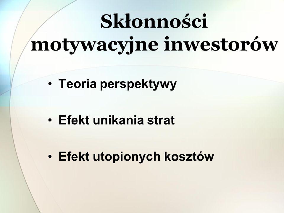 Skłonności motywacyjne inwestorów Teoria perspektywy Efekt unikania strat Efekt utopionych kosztów