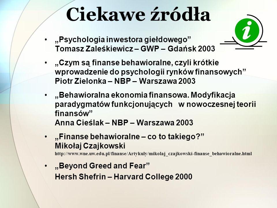 Ciekawe źródła Psychologia inwestora giełdowego Tomasz Zaleśkiewicz – GWP – Gdańsk 2003 Czym są finanse behawioralne, czyli krótkie wprowadzenie do ps