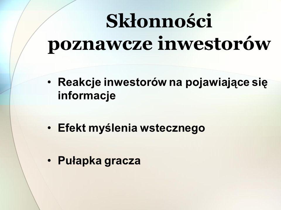 Reakcje inwestorów na pojawiające się informacje: Nadreaktywność Subreaktywność