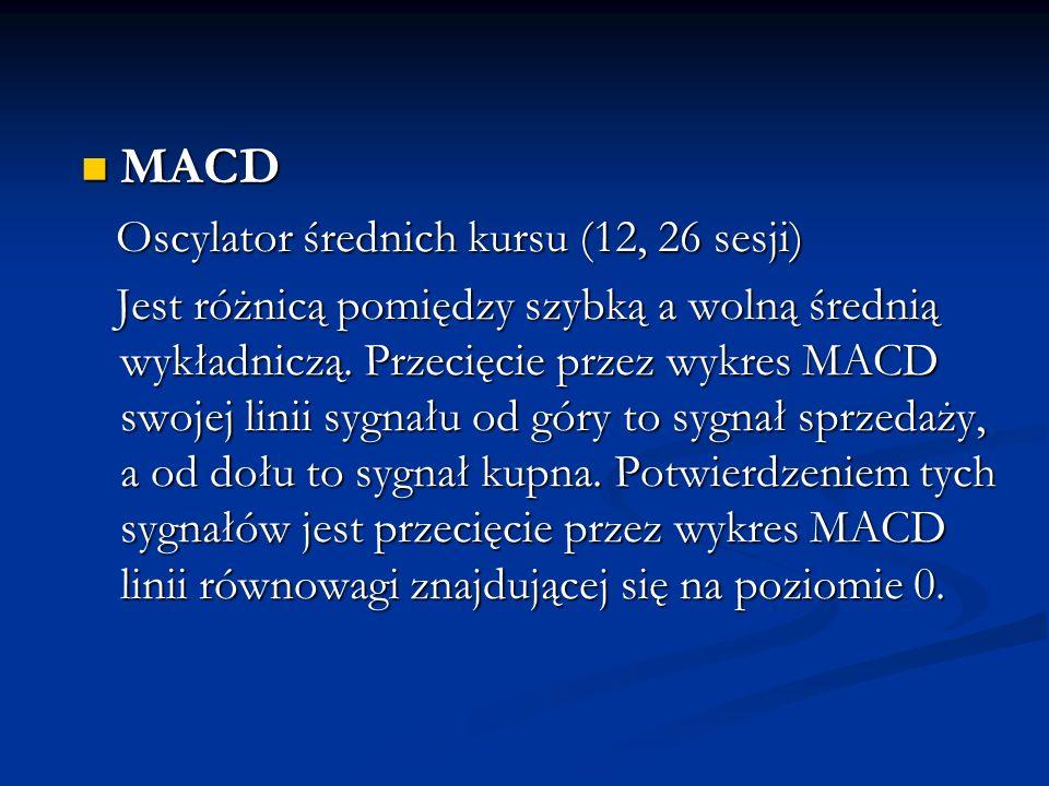 MACD MACD Oscylator średnich kursu (12, 26 sesji) Oscylator średnich kursu (12, 26 sesji) Jest różnicą pomiędzy szybką a wolną średnią wykładniczą. Pr