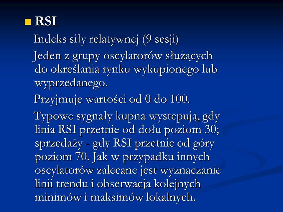 RSI RSI Indeks siły relatywnej (9 sesji) Indeks siły relatywnej (9 sesji) Jeden z grupy oscylatorów służących do określania rynku wykupionego lub wypr