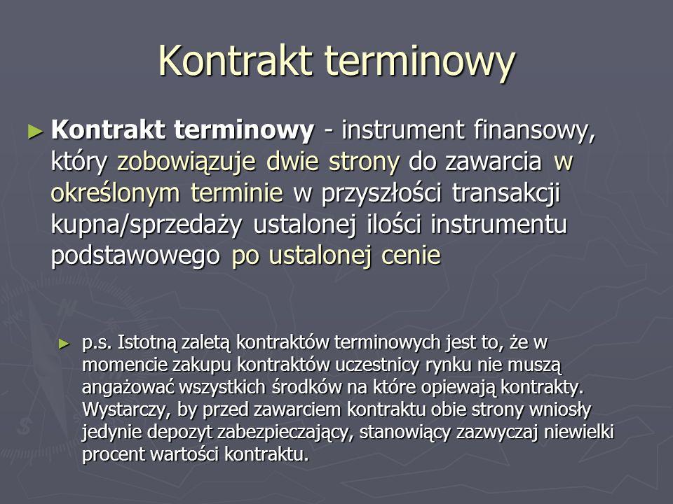 Kontrakt terminowy Kontrakt terminowy - instrument finansowy, który zobowiązuje dwie strony do zawarcia w określonym terminie w przyszłości transakcji