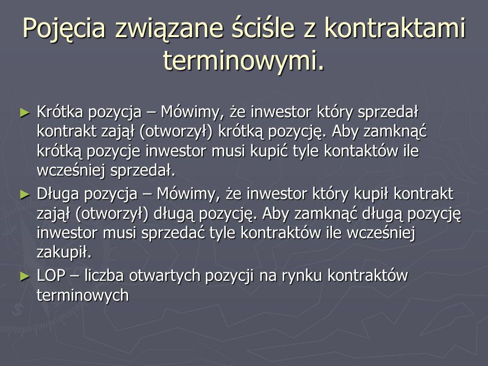 Pojęcia związane ściśle z kontraktami terminowymi. Krótka pozycja – Mówimy, że inwestor który sprzedał kontrakt zajął (otworzył) krótką pozycję. Aby z